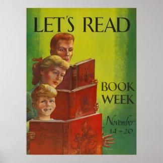 Poster Affiche de la semaine du livre de 1954 enfants