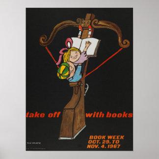 Poster Affiche de la semaine du livre de 1967 enfants