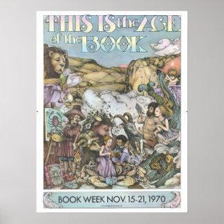Poster Affiche de la semaine du livre de 1970 enfants