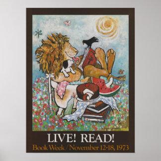 Poster Affiche de la semaine du livre de 1973 enfants