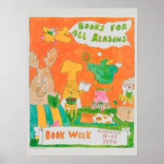 Poster Affiche de la semaine du livre de 1974 enfants