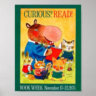Poster Affiche de la semaine du livre de 1975 enfants