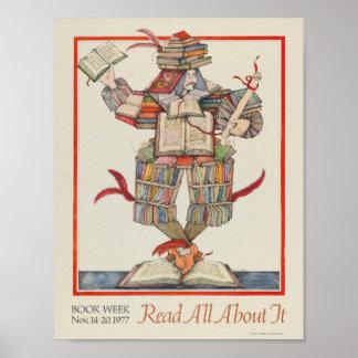 Poster Affiche de la semaine du livre de 1977 enfants