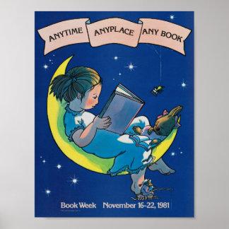 Poster Affiche de la semaine du livre de 1981 enfants
