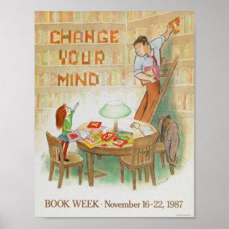 Poster Affiche de la semaine du livre de 1987 enfants