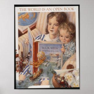Poster Affiche de la semaine du livre de 1991 enfants