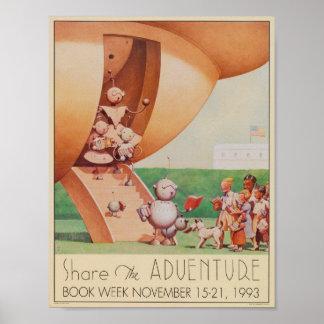 Poster Affiche de la semaine du livre de 1993 enfants