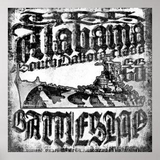 Poster Affiche de l'Alabama de cuirassé
