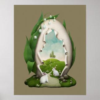 Poster Affiche de lapins d'oeuf de pâques