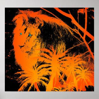 Poster Affiche de lion du feu
