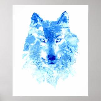 Poster Affiche de loup d'hiver d'aquarelle