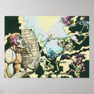 Poster Affiche de lutins du combattant v