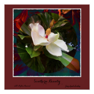 """Poster Affiche de magnolia """"de beauté du sud"""""""