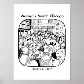 Poster Affiche de mars des femmes de Chicago