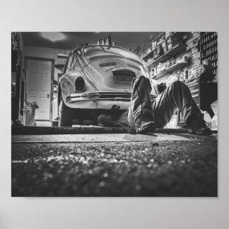 Poster Affiche de mécanicien de réparation de voiture