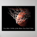 Poster Affiche de motivation de basket-ball de citation