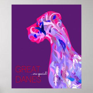 Poster Affiche de motivation de corail de great dane