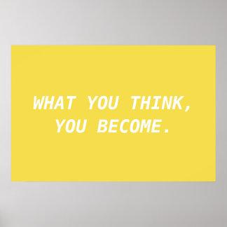 Poster Affiche de motivation jaune et blanche de citation