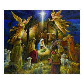Poster Affiche de Noël de nativité