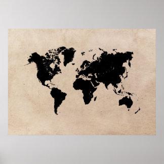 Poster affiche de noir de carte du monde