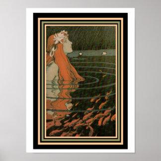 """Poster Affiche de Nouveau avec d'or de Mucha """"sirène de"""