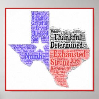 Poster Affiche de nuage de mot du Texas