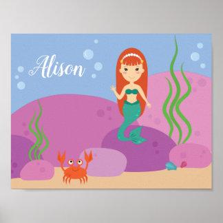 Poster Affiche de ondulation sous-marine de crèche de