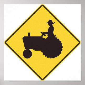 Poster Affiche de panneau routier de tracteur