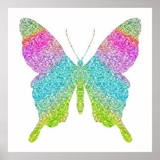 Poster Affiche de papillon de parties scintillantes