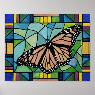 Poster Affiche de papillon en verre souillé