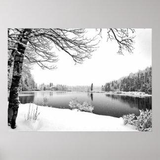 Poster affiche de paysage d'hiver