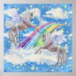 Poster Affiche de pièce de filles de licorne d'imaginaire