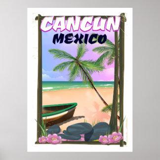 Poster Affiche de plage de Cancun Mexique