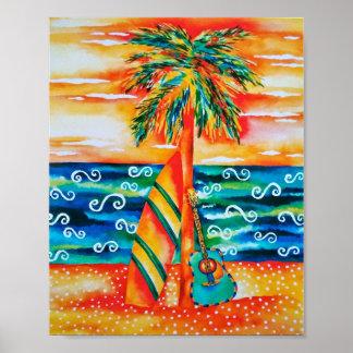 Poster Affiche de planche de surf et de guitare