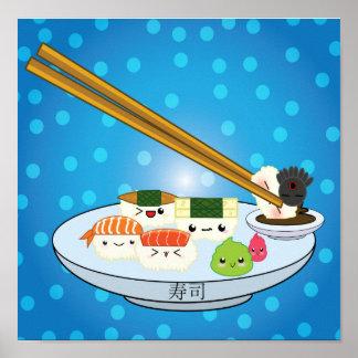 Poster Affiche de plateau de sushi de Kawaii