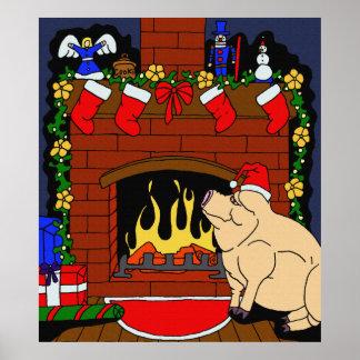 Poster Affiche de porc de Noël