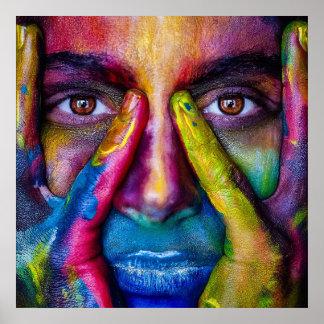 Poster affiche de portrait de masque de peinture