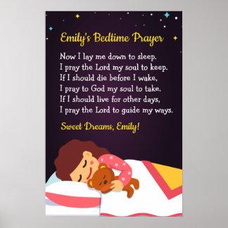 Poster Affiche de prière heure du coucher