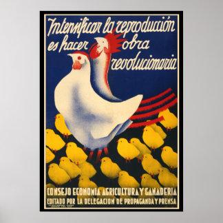 Poster Affiche de propagande de poulet de guerre civile
