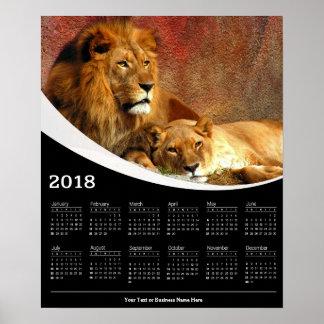 Poster Affiche de repos de calendrier du lion 2018 et de