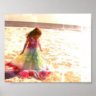 Poster Affiche de robe de plage d'océan de fille