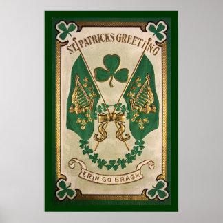 Poster Affiche de salutation de jour de St Patricks