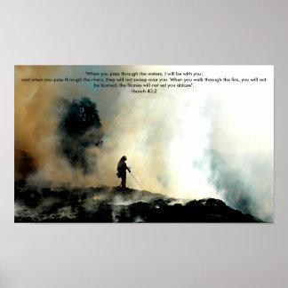 Poster Affiche de sapeur-pompier - 43:2 d'Isaïe