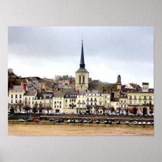 Poster Affiche de scène de berge de Saumur