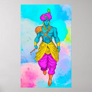 Poster Affiche de seigneur Krishna colorée