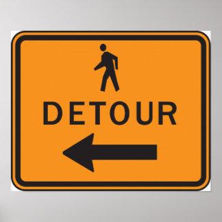 Poster Affiche de signe de détour