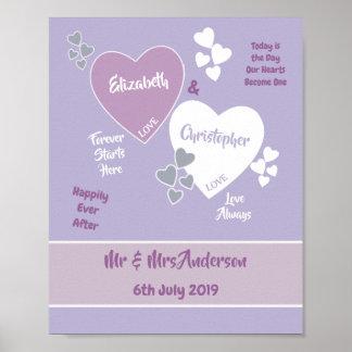 Poster Affiche de signe de mariage de lavande et de lilas
