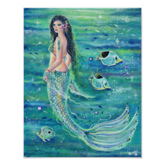 Poster Affiche de sirène d'imaginaire d'Andrina avec le