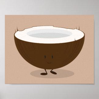 Poster Affiche de sourire de noix de coco