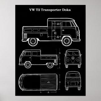 Poster Affiche de T2 Doka Van Patent Print - noir de
